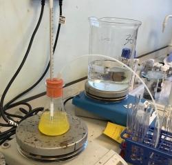 distillation setup (on a hotplate)