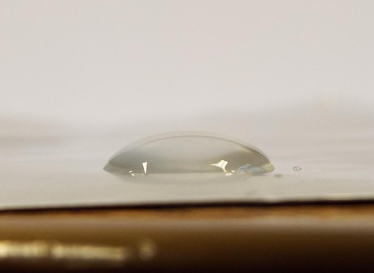 water droplet on aluminium foil