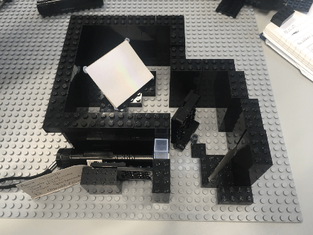 A lego set built up to make a spectrometer