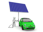 Cartoon of a car plugged into a solar panel