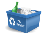 Image of a recycling box containing bottles, cans and paper