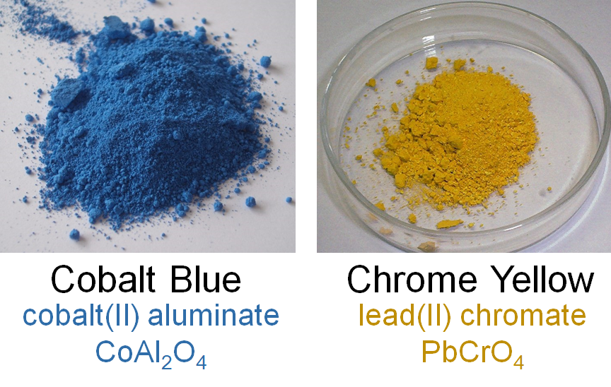 Image showing inorganic cobalt blue (cobalt(II) aluminate) and chrome yellow (lead(II) chromate) pigments